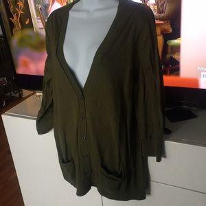 Gap Cotton 3/4 sleeve cardigan army green XL